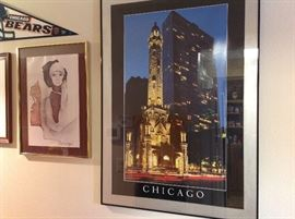 Picture of downtown Chicago along with many items of Chicago (Banners, hats, coats, etc.)