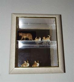 MCM shadow box & figurines