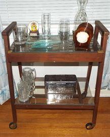 MCM tea cart & bar items