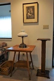 Oak parlor table and plant stand