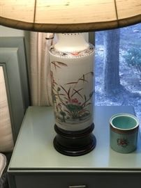 One of a pair of oriental themed lamps