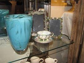 Kosta Boda art glass vase, bejeweled picture frames