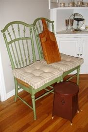 Green chairs (set of 4), hand made cutting boards and great little vintage metal stool