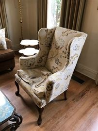 One of two wing back chairs