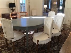 Round table grey painted table with two extensions