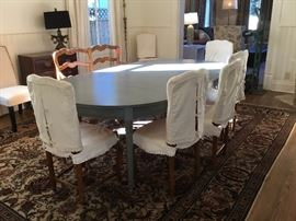 "Set of eight French Provençal chairs & matching bench with linens covers, sold with, can be removed, monogram ""S""."