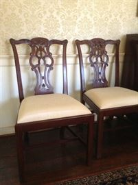 SET OF 6 CHIPPENDALE STYLE BAKER DINING CHAIRS