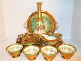 LaMieux China 24kt Gold Decanter Set with Tray Plus Coffee Set with Cream and Sugar with additional Tray