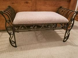Beautiful Iron and Cloth Bench