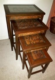 Set of 4 Carved Nesting Tables