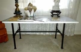 Marble Top Table w/Metal Base