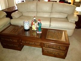 Great Oriental, Carved Wood Coffee Table w/Pass-through Drawers