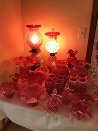 Fenton Cranberry Hobnail Glass