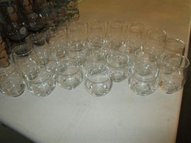 Set of clear drinking glasses