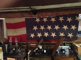 "Amazing 20'X10"" 45 Star American Flag. last one made in 1896.  Shown folded in half.  Has braid roping.Please do not take down unless serious buyer.  Ask for help."