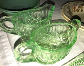 Green depression ware cream and sugar
