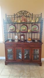 Lexington Bob Timberlake wood & wrought iron bakers hutch, Pfaltzgraff Central Market dishes