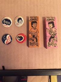 Vintage  Beatles Pins And Candy Stick Boxes