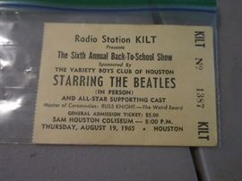 Beatles-August 19, 1965, Houston Concert Ticket Stub