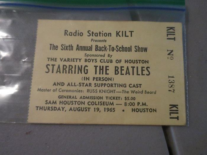 Beatles-August 19, 1965, Houston Concert Ticket Stub
