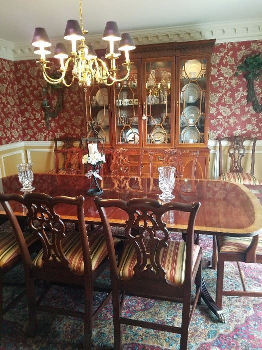 Additional Table And Chairs Beautiful China Cabinet Buffet Pair Of Jade Vases Imari Charger Dining Room Hickory