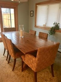 Ethan Allen Farmhouse table & woven chairs