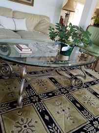 Great coffee table and wool rug