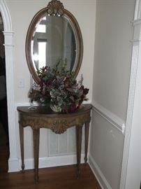 FOYER TABLE AND MIRROR $135.