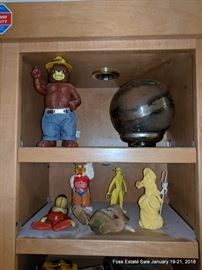 Assorted collectibles including Smokey the Bear, Little Bo-Peep, Arctic Circle Drive-In and other related characters.