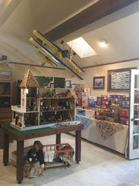 Looking into the living room with a better view of the large vintage radio controlled airplane!