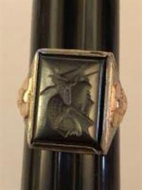 10k white gold Intagilo Hematite Roman Soldier ring
