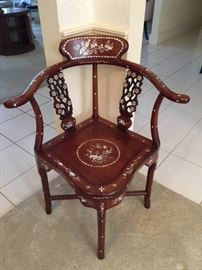Chinese Rosewood & Mother-of Pearl Corner Chair