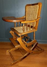 Antique Child Cane Seat High Chair Oak Wood Converts Rocker Museum Quality!