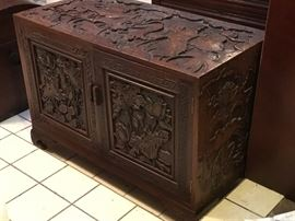Antique carved camphorwood chest