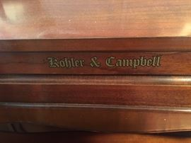 Kohler and Campbell piano with piano stool