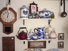 assortment of transfer ware , pottery, tea kettle, clocks, pictures and much more