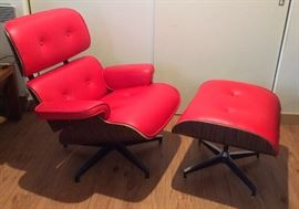 Red leather Eames-style lounge chair & ottoman