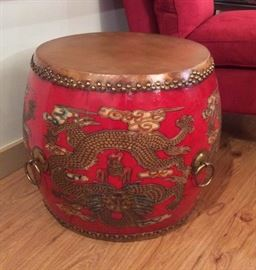 "Chinese ""drum"" end table with dragons"