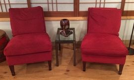 Pair of red ultrasuede armless chairs by Lee Industries, metal & glass end table, more studio pottery incl. bowl by Matthew Patton