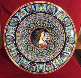 "Large Deruta pottery portrait plate  (16"" diameter) - hand painted by Italian artist Eugenio Ricciarelli"