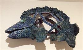 "Pottery fish sculpture - 20"" long"