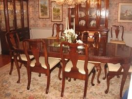 Dixie cherry dining table with 6 side and 2 arm chairs