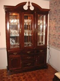Bassett mahogany lighted china cabinet