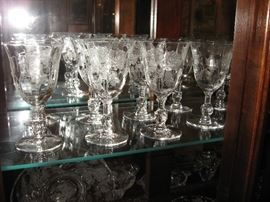 "Heisey ""Rose"" goblets and ice tea glasses and much more"