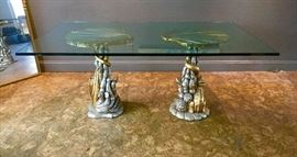 "Regency dining table...glass 3/4"" thick! Twin pedestals, shell inspired design."