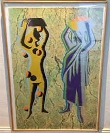 "'Two Cultures'. Pair of silkscreen prints by artist Kostabi.  Each measures 30 1/4"" x 42 1/4""."