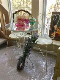 Shabby chic bistro set, vintage pink w/ gold trim glassware.