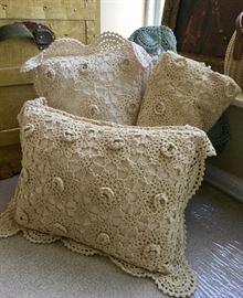 Very sweet! Handmade, vintage pillow covers/shams.