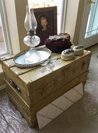 Shabby Chic trunk, vintage oil lamp, fur muffler