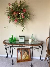 Contempory glass top console table. Excellent condition!
